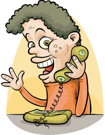 A cartoon man having a conversation on the telephone.