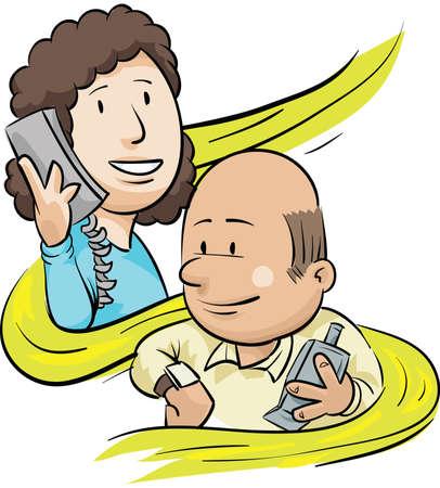 漫画男は電話をかける準備をする時間をチェックします。