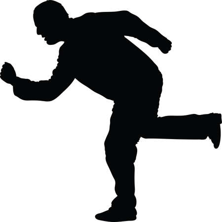 known: Silhouette of man in fake running pose known as phooning.