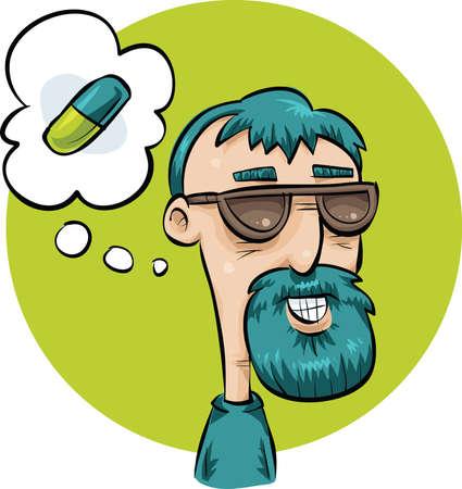 A cartoon man thinking about a pill. Иллюстрация