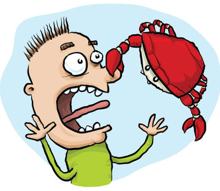 pinches: A cartoon crab pinches a man on the nose. Illustration