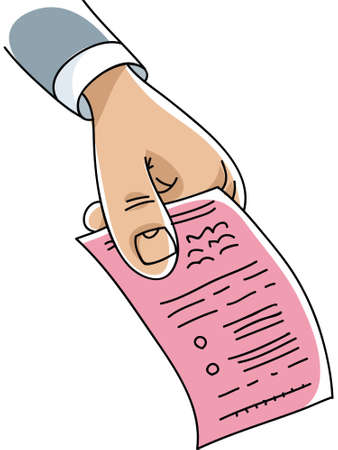 hand holding paper: A cartoon hand holding a paper pinkslip. Illustration