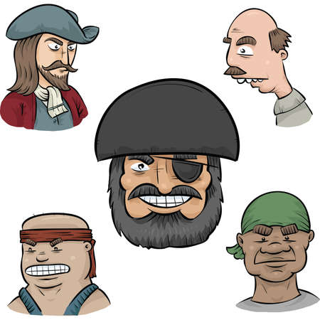 A set of cartoon pirate faces. Illustration