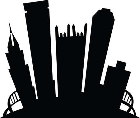 business district: Cartoon skyline silhouette of the city of Pittsburgh, Pennsylvania, USA. Illustration