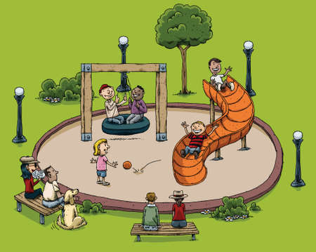 dog park: A cartoon park with children playing.