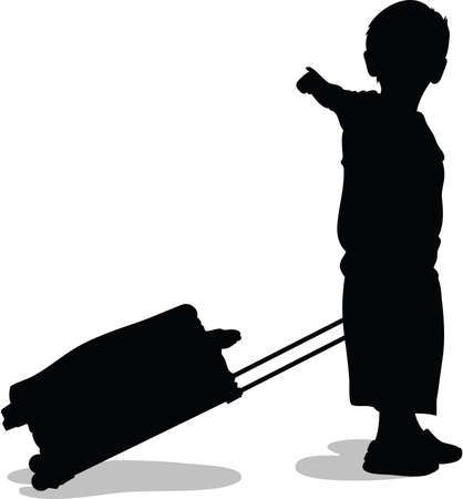 A silhouette of a child pulling a suitcase and pointing. Vector