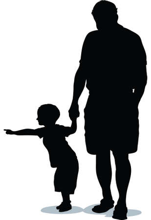 A silhouette of a child pointing while an adult holds his hand. Vector