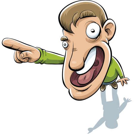 pointing up: Un uomo cartone animato rivolto verso l'alto.