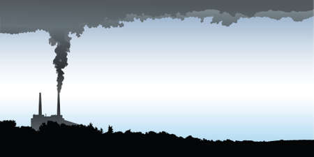 spewing: Skyline silhouette of an industrial area spewing pollution into the air. Illustration