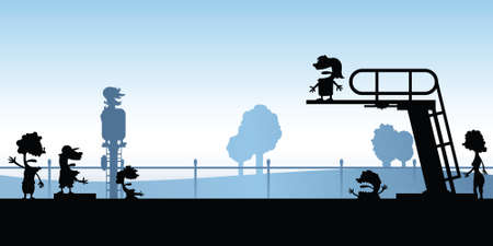 diving board: Cartoon silhouette of people swimming at a pool with a diving board.