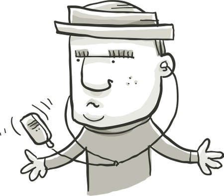 휴대용 음악 플레이어를 듣고 만화 남자.