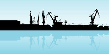 shipyard: Cranes working at the port in Veracruz, Mexico.