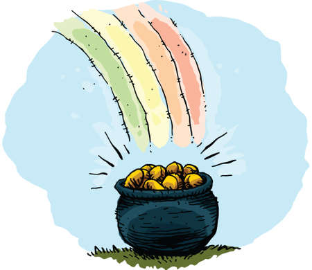 pot of gold: A pot of gold at the end of a rainbow. Illustration