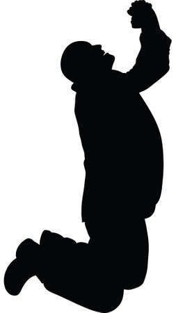 A silhouette of a man on his knees, praying.