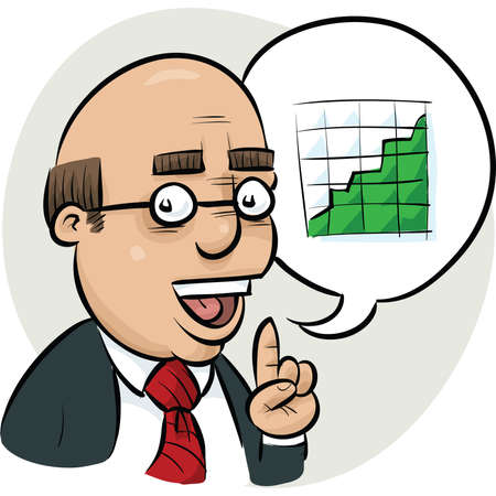 talks: A cartoon businessman talks about a chart showing increasing profits.