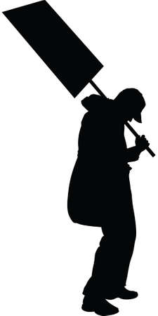 beaten: A silhouette of a tired and worn out protester holding a sign.