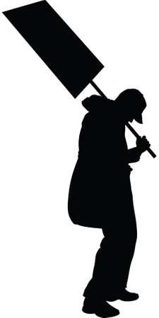 worn sign: Una silueta de un manifestante cansado y desgastado con un cartel.