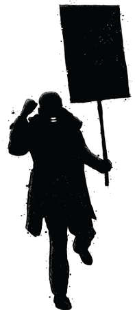 protester: A silhouette of an angry protester holding a sign, shouting and waving his fist. Illustration