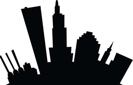 business district: Cartoon skyline silhouette of the city of Providence, Rhode Island, USA.