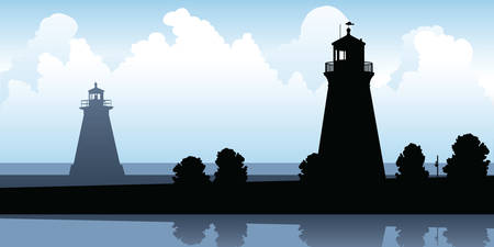 port: Silhouette of two lighthouses on Lake Ontario at Port Dalhousie, Ontario, Canada. Illustration