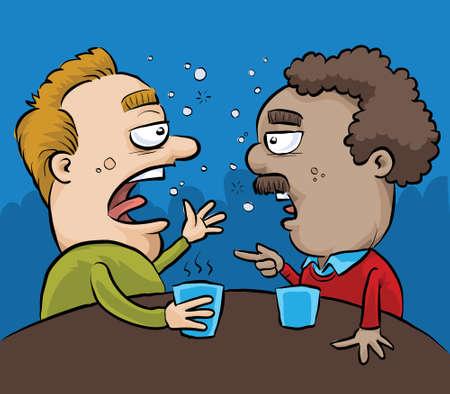 Dos hombres borrachos de dibujos animados tienen una conversación en un pub.