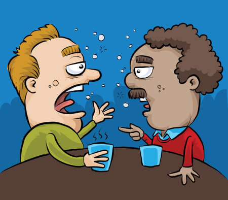 Two drunk cartoon men have a conversation in a pub.