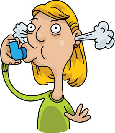 asthma: A cartoon woman uses her inhaler to deal with her asthma.