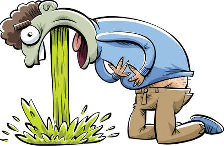 he: A cartoon man in pain as he vomits.  Illustration