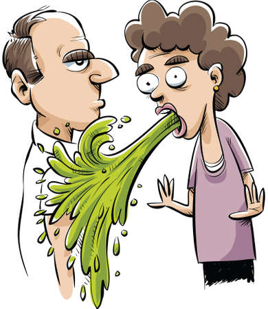 nausea: A cartoon vomit accidentally vomits on a man. Illustration