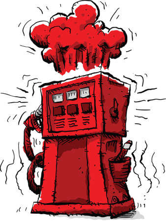 rising prices: Rising prices cause a gas pump to turn red and blow its top. Illustration
