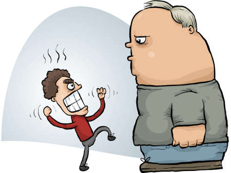 A small, angry cartoon man threatens a calm, large man. 向量圖像