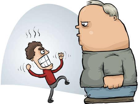threatens: A small, angry cartoon man threatens a calm, large man. Illustration