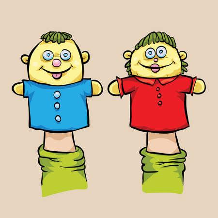 A cartoon of a girl and boy puppet.