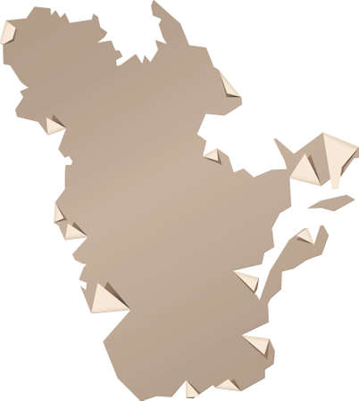 quebec: Peeling paper map of the province of Quebec, Canada. Illustration