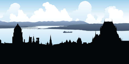 Skyline silhouette of the historic portion of Quebec city, Quebec, Canada.