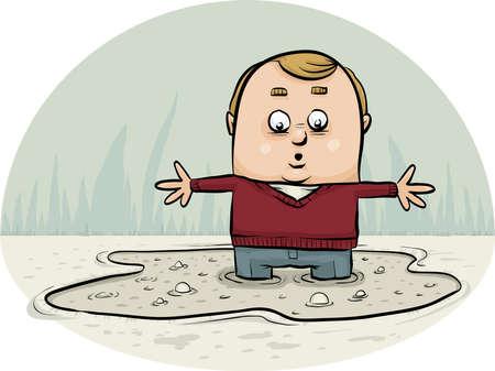 Een cartoonmens die in een plas drijfzand zinkt.