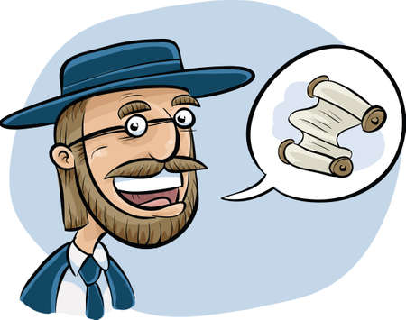 jews: A cartoon rabbi talking about a scroll.