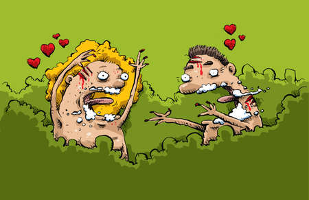 A cartoon man and woman in a natural setting are overwhelmed by rabid love.
