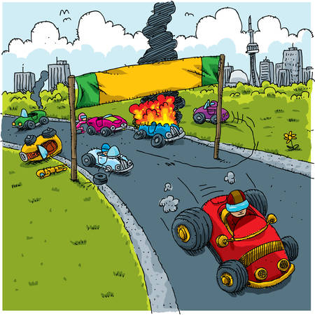 competitions: Only one cartoon car successful at the start of a road race.