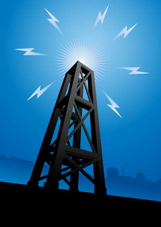 wireless signal: A radio tower broadcasting signals across the city. Illustration