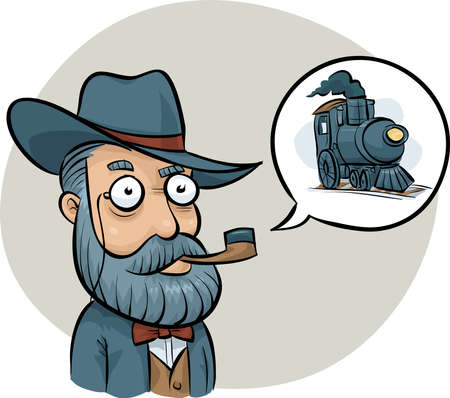 talking: An old-fashioned railway boss talking about a steam train engine.