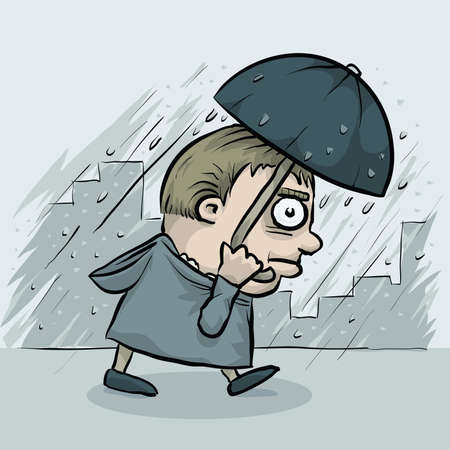 cartoon umbrella: An angry man uses a cartoon umbrella to protect himself from the rain storm.