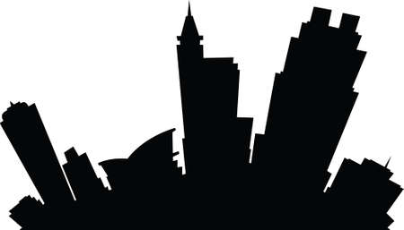 Cartoon skyline silhouette of the city of Raleigh, North Carolina, USA.