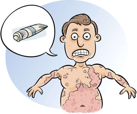 rash: Un hombre de dibujos animados pide crema para detener su enorme erupci�n se propague. Vectores