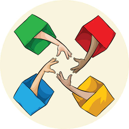 four friends: Four cartoon arms reach out from inside boxes to connect. Illustration
