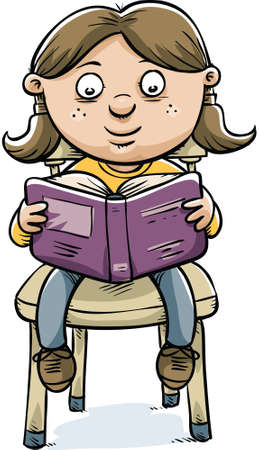 literature: A cartoon girl sitting on a chair and reading a book. Illustration