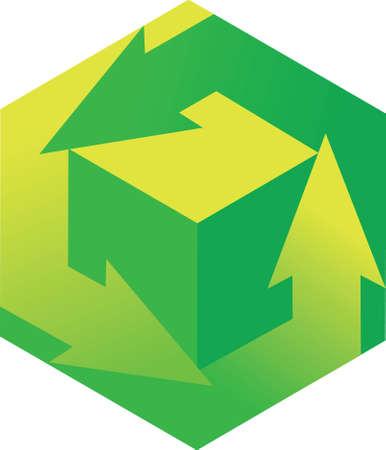 Cartoon icon encouraging recycling and reuse. Ilustração