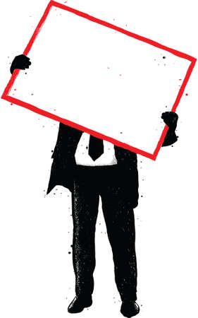 oversize: A silhouette of a man holding a blank, red poster frame.