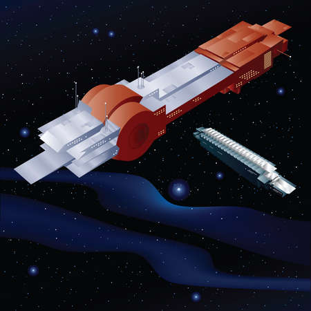 docking: A cartoon spaceship docks with another spaceship.