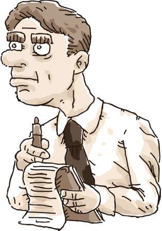 reportero: Un reportero retro toma notas en un bloc de papel. Vectores